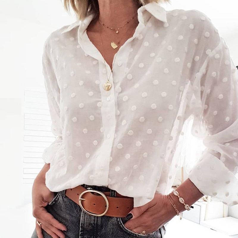 Sexy Chiffon blanco OL camisa mujeres blusas y blusas de manga larga elegante señoras Polka Dot Chemise Femme Blusa Streetwear