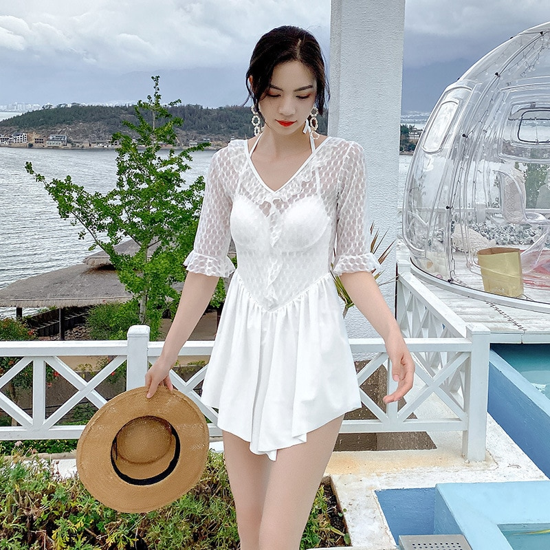 Una pieza bañador Bikini femenino cerrado de baño una pieza trajes caliente blanco y negro cubierta de baño con falda empujar sólido