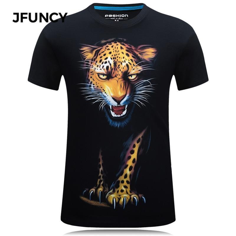 leopard print lace trim plus size tee JFUNCY Men 3D T-shirt Summer Casual Harajuku Leopard Print Man Tee Shirts Short Sleeve Male Tops Plus Size Hip-hop Tshirt