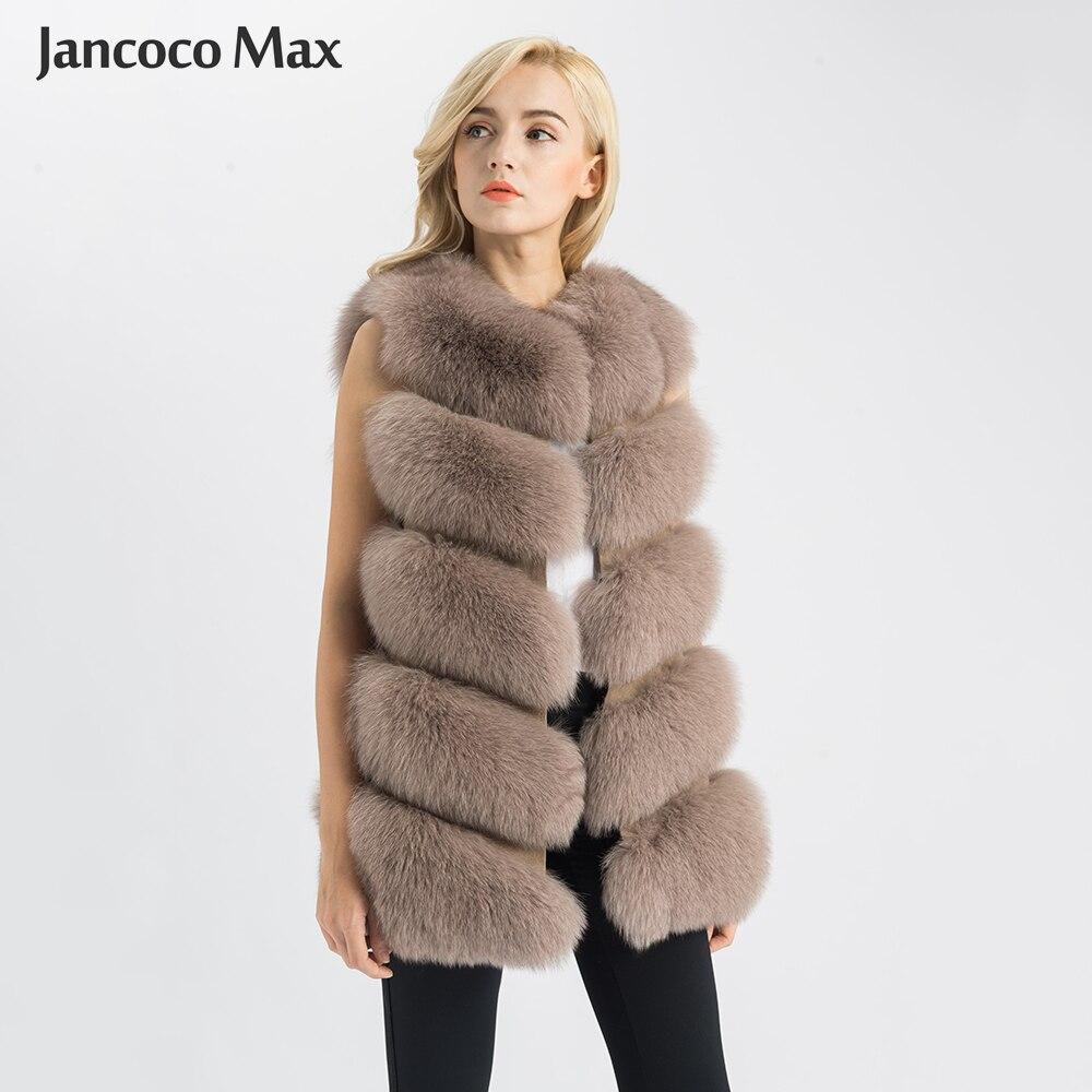 Jancoco max 2019 real pele de raposa gilet mulheres inverno genuíno macio natural pele longa colete alta qualidade moda casaco 5 linhas colete s1571