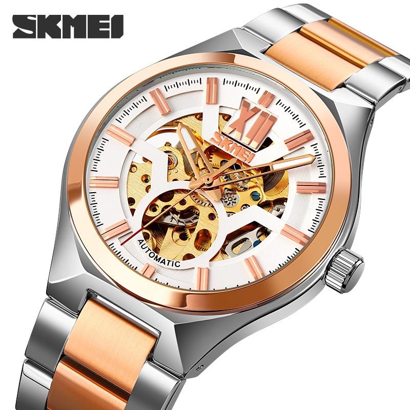 SKMEI Brand Automatic Watch Fashion Stainless Steel Quartz Men's Watches Hollow Skeleton Mechanical