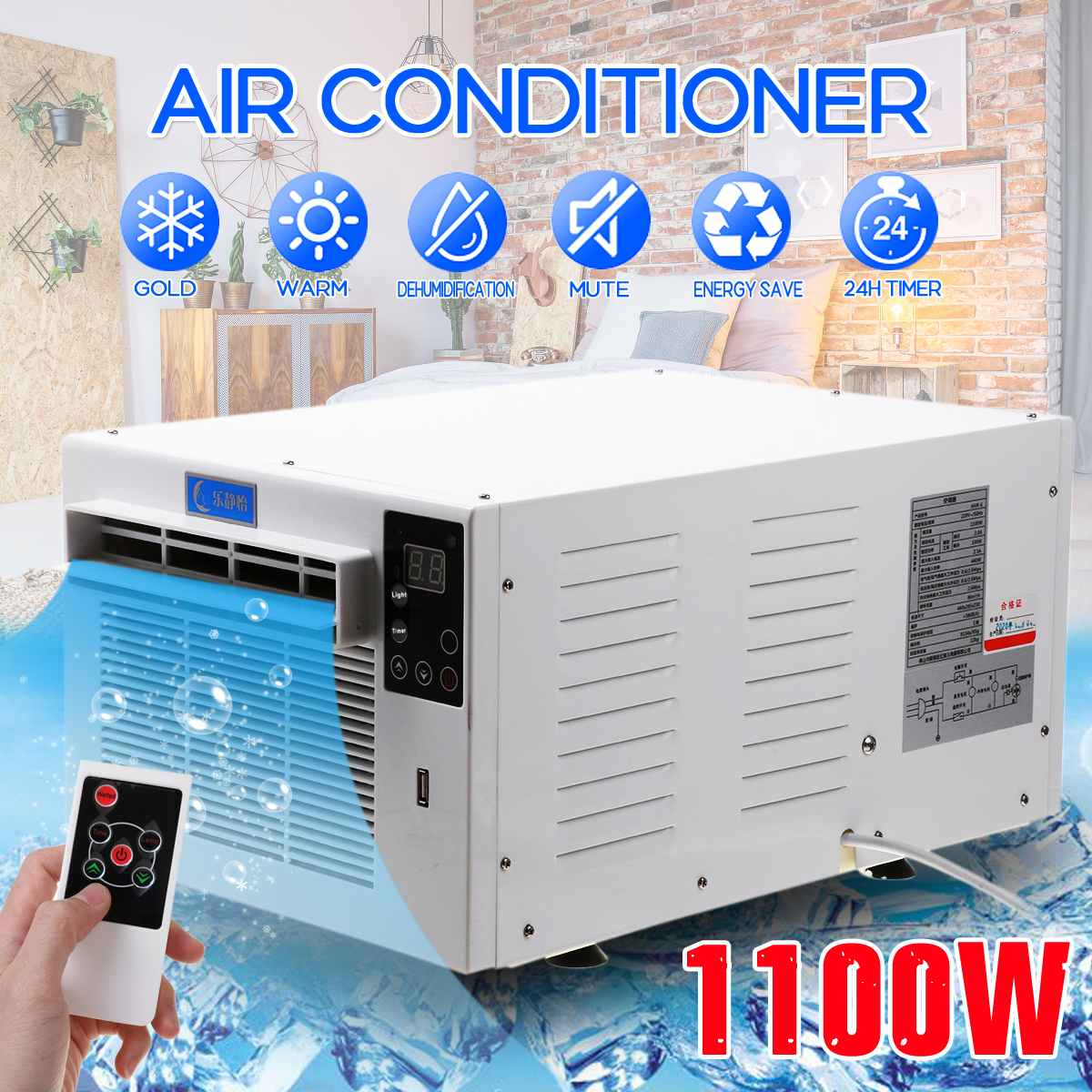 1100W Air Conditioner 220V/110V Portable Cold/Heat dual use 24-hour timer 2 gear lighting LED control panel With remote control
