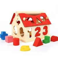 montessori toy building blocks early learning educational toys shape match wooden house kids puzzle toys for children boys girls