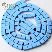 natural stone sky blue hematite stone matte rubber squar beads space loose beads 44mm 90pcs for jewelry making diy bracelet 15