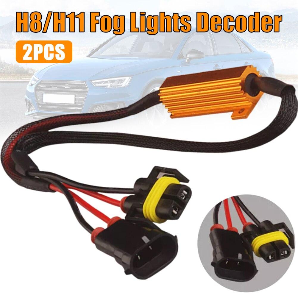 2PCS H11 / H8 Fog Lights Decoder LED Fog Lamps Resistance Line LED Gold Fixed Resistor