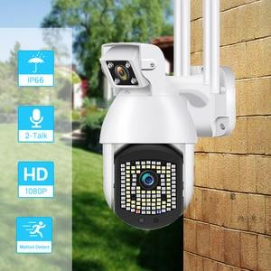 OUERTECH 1080P Dual Lens PTZ IP Camera 2MP Wifi Outdoor Auto-Tracking Wifi Security Speed Dome Camera PIP CCTV Surveillance