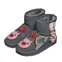 rainbow rhinestones women snow boots with warm plush fur winter ankle boots 2020 fashion cute animal beaded winter shoes woman