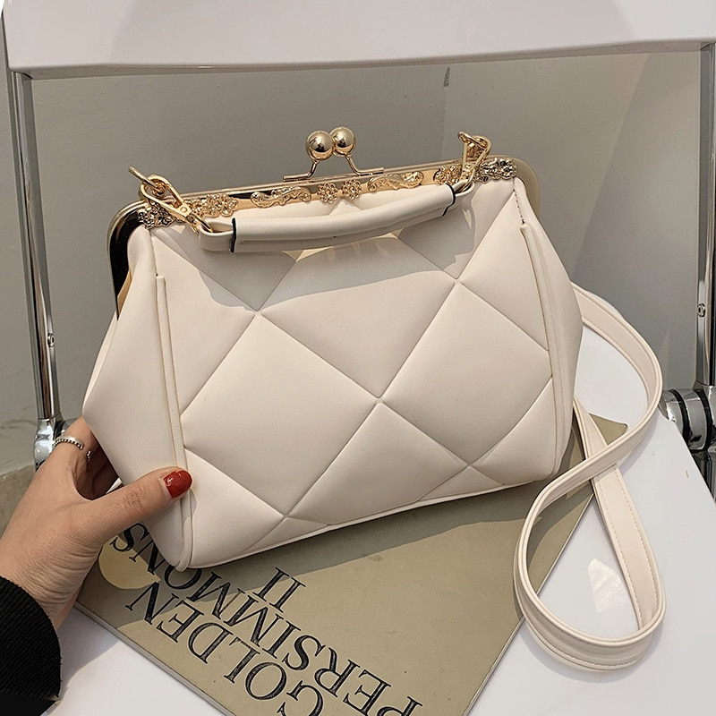 Quilted Clip Top Crossbody Bags for Women 2021 Fashion PU Leather Shoulder Bag Woman Satchel Bag Luxury Brand Ladies Handbags