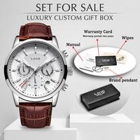 Часы наручные LIGE Мужские кварцевые, брендовые люксовые модные повседневные деловые, с кожаным ремешком, с коробкой, с датой