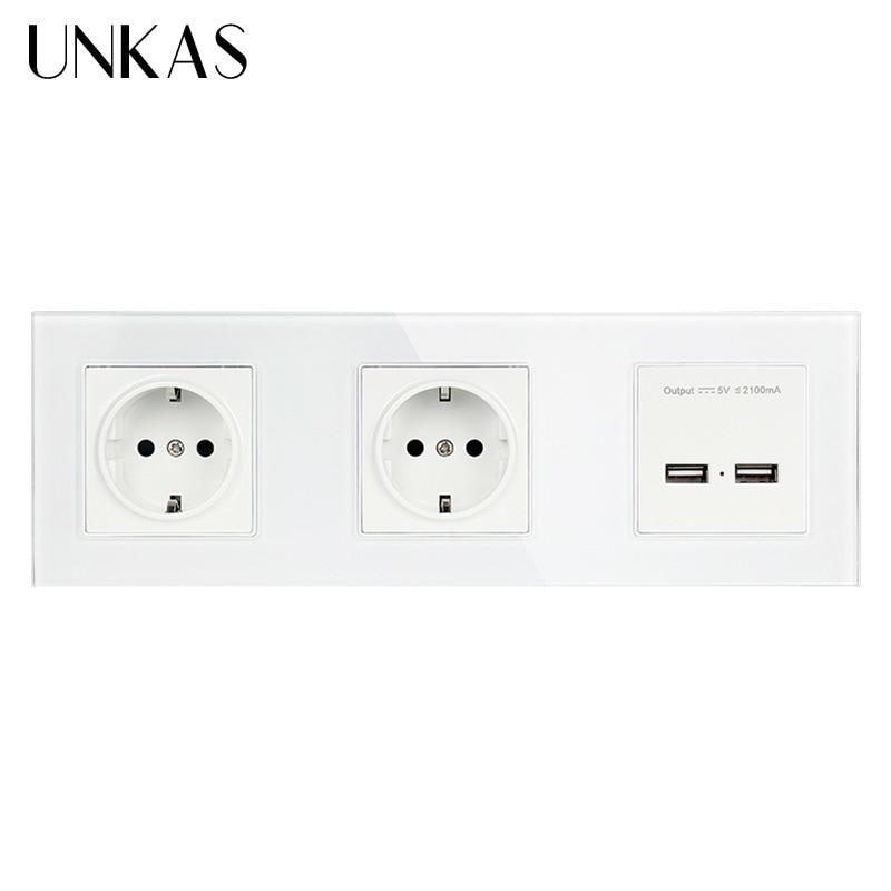 UNKAS جدار كريستال زجاج لوحة مزدوجة المقبس 16A الاتحاد الأوروبي الكهربائية المخرج المزدوج USB الذكية شحن ميناء 5 فولت 2A الناتج أبيض اللون