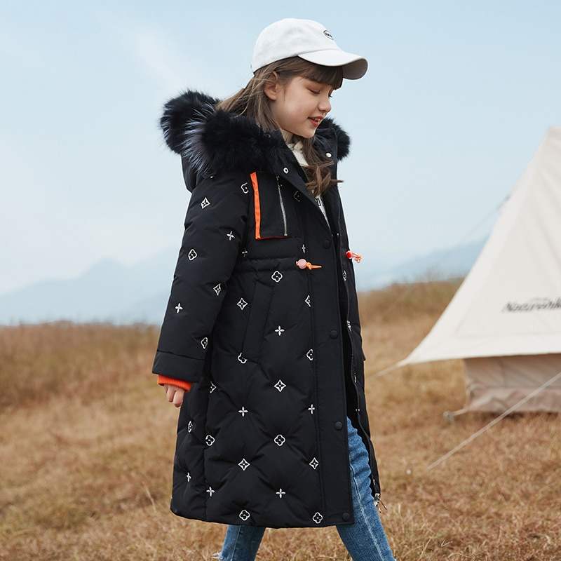 Girls' Down Jacket Children's Overcoat 2021 New Fashion Thicken Clothes Long Over The Knee Hooded Winter Coat Jackets For Girls enlarge
