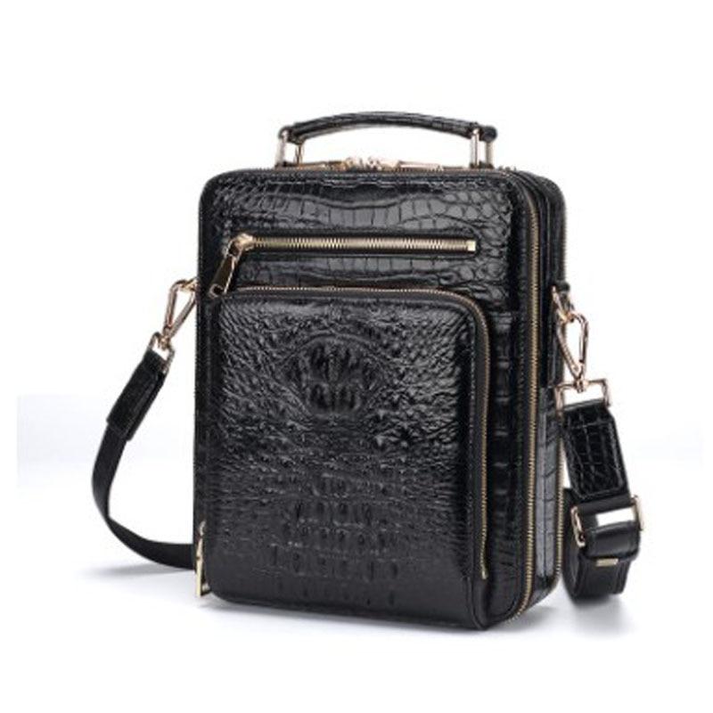 hujingsha Thai Siamese crocodile men handbag  men  cross-body bag leisure business leather handbag men's vertical men bag