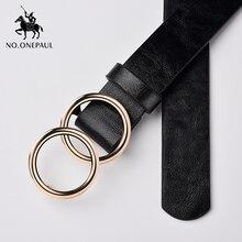 NO.ONEPAUL-robe en jean avec boucle circulaire   Robe de styliste, ceintures sauvages, marque célèbre, en cuir, bonne qualité, ceinture en alliage, mode, double anneau