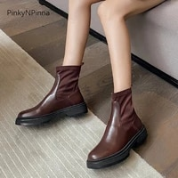 fashion women genuine leather flat platform ankle boots street riding booties stretch fabric plus size autumn commuter shoes