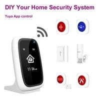 Systeme de securite domestique sans fil  wi-fi  avec bouton SOS  capteur PIR porte fenetre eau  sonnette  application Tuya Smart Life  DIY