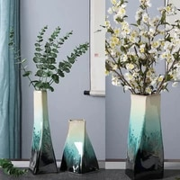 home decor creative porcelain geometric green glaze decorative flower vase for wedding decoration