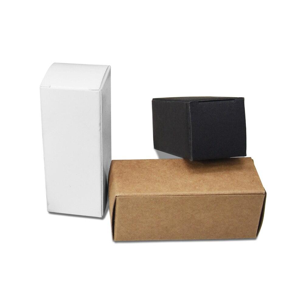 50 pçs/lote Preto/Marrom/Branco Pequeno Presente Caixa de Papel Kraft de Papel Papelão Caixas De Embalagem Para A Garrafa de Óleo de Perfume Caixa De Embalagem Artesanal