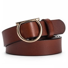Luxury Cowskin Leather Belts For Women Classic Buckle Strap Ladies Fashion Adjustable Genuine Leathe