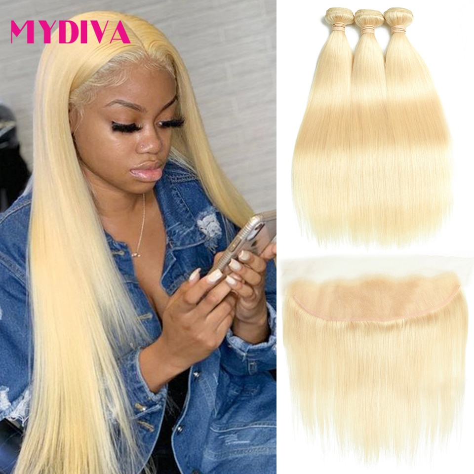613 Bundles With Frontal Brazilian Straight Hair 3 Bundles With Closure Remy Blonde Human Hair Bundles With Frontal 13*4 Mydiva
