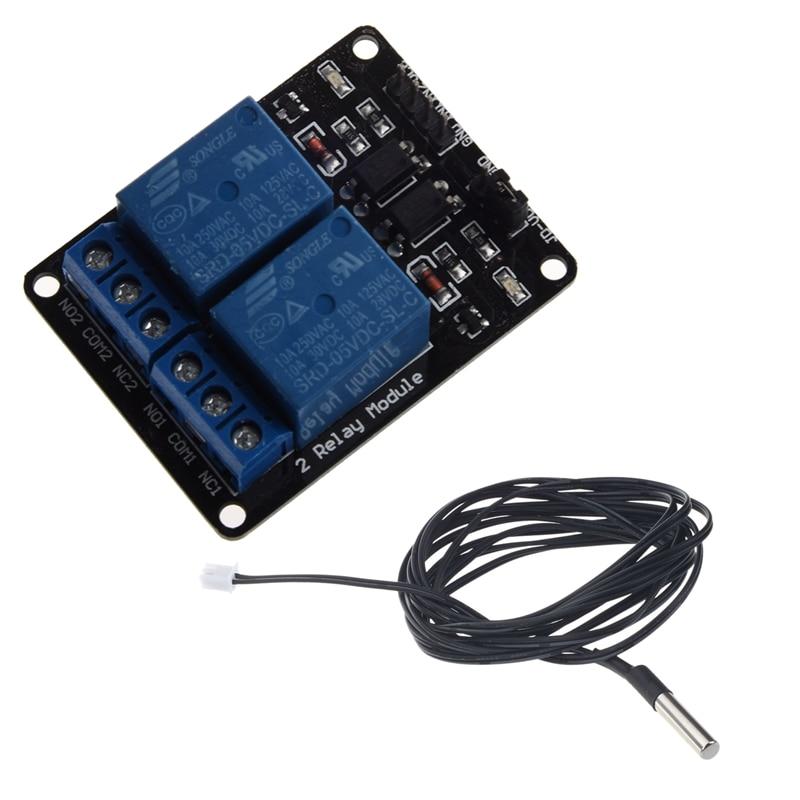 Sensor de temperatura GTBL 2 M termistor NTC Cable de sonda impermeable 10 K 1% 3950 negro + conjunto de módulo de relé de 2 piezas