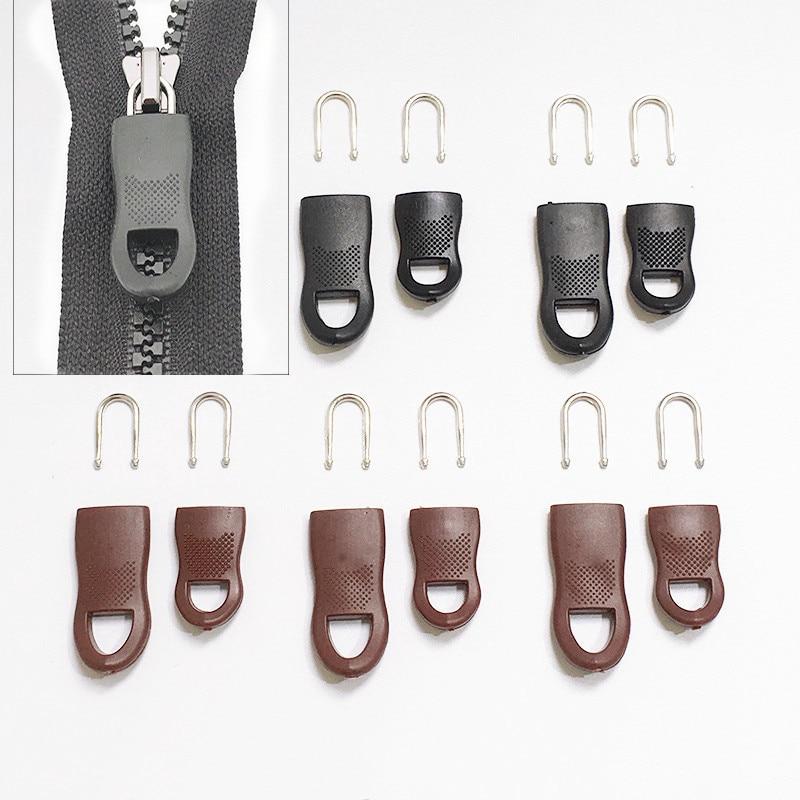 5Pcs/Set Replacement Zipper Tags Zip Fixer for Clothes Black Zipper Pull Fixer for Travel Bag Suitcase Clothes Tent Backpack