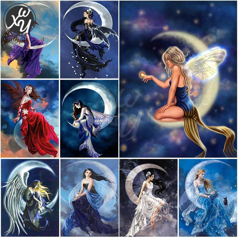 Алмазная живопись, фантазия, алмазная вышивка, квадратная/круглая картина стразы, аниме, ангел, полное сверление, мозаика, искусство для дом...