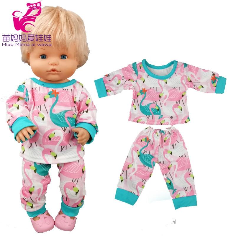40cm nenuco boneca roupas conjunto de pijama rosa ropa y su hermanita 17 polegada bebê boneca irmã trajes