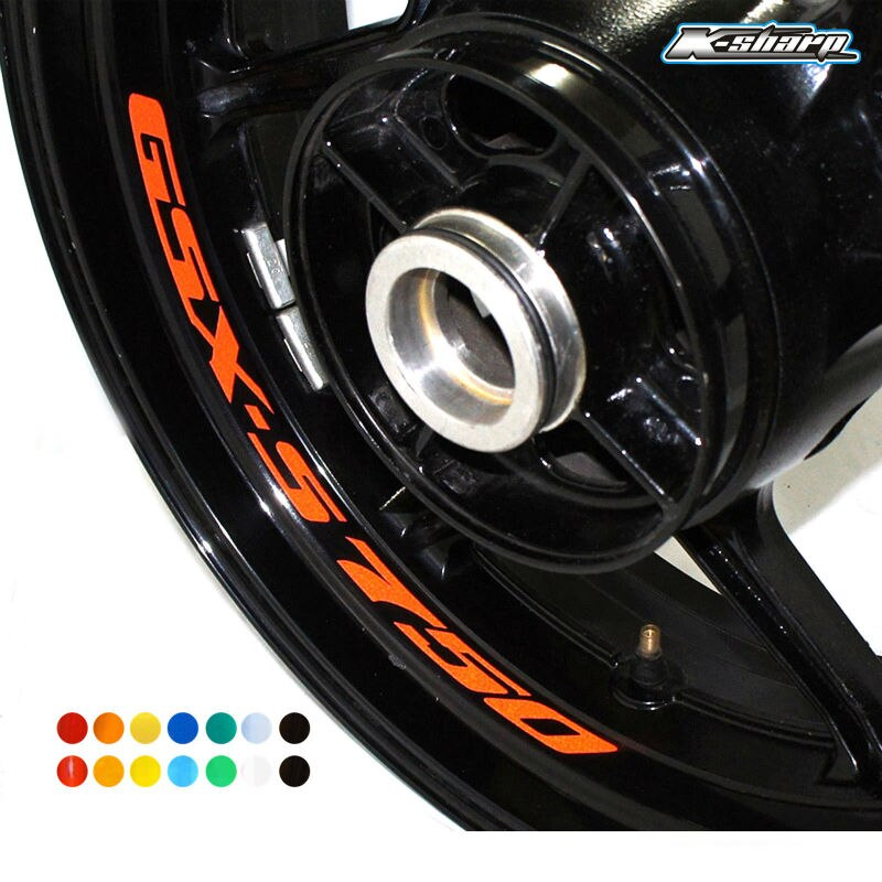 8 calcomanías de llanta Inne personalizadas, pegatinas reflectantes de rueda a rayas para SUZUKI GSX-S 750 gsxs 750 gsx s750
