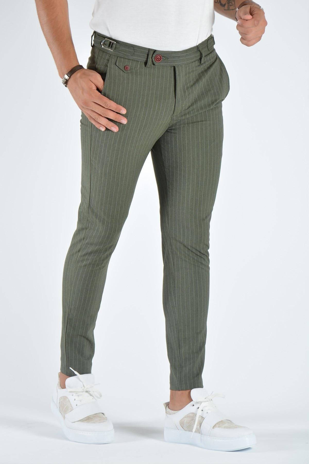 Мужские зауженные льняные брюки 20K-2200371 хаки