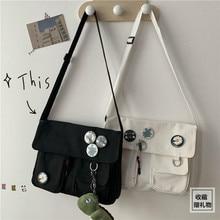 대용량 캔버스 대각선 크로스 청소년 캐주얼 숄더백 여성용, 단색, 메신저 가방