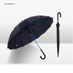 Long Curved Handle Umbrella 16k Large Umbrella Face Super Waterproof Umbrella Cloth Reinforcement Windproof Semi - automatic