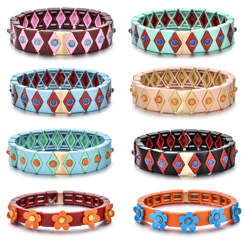 2020 quente mal olho esmalte estiramento pulseiras para mulher empilhamento casual pulseira maré marca diy arco-íris telha grânulos pulseira