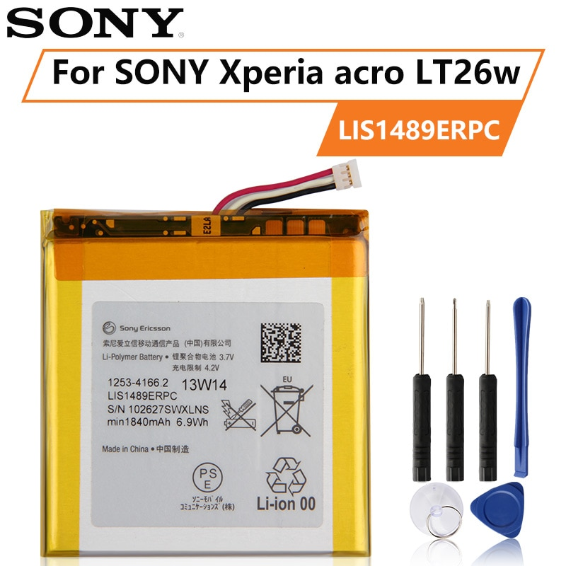 Original SONY Battery For ONY LT26 LT26w Xperia acro HD SO-03D LIS1489ERPC 1840mAh Authentic Phone Replacement Battery enlarge