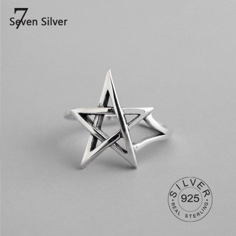 Настоящее 925 пробы серебряные кольца для женщин звезды выдалбливают Модные ювелирные изделия большие регулируемые античные кольца Anillos