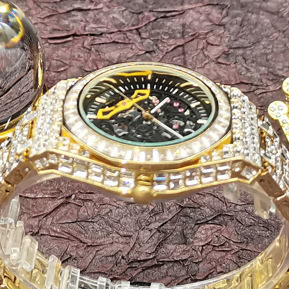 MISSFOX Hip Hop Full Diamond Mens Watches Top Brand Gold Luxury Iced Out Bling Man Watch Waterproof AAA Clocks Relogio Masculino enlarge