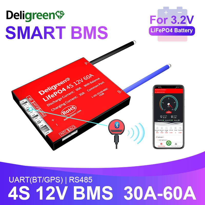 Smart BMS LiFePO4 BMS 4S 12V Bluetooth 485 to USB device CAN UART LCD For Lithium LiFePO4 LTO Batteries