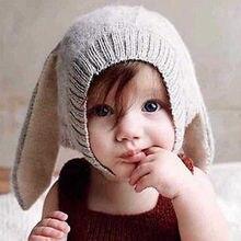 Gorro con orejas de conejo para bebé, gorros de punto para niños, accesorios para fotografía