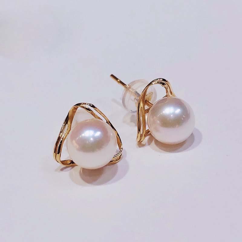 Promo Prefactly Round Akoya Pearl Earrings For Women,Seawater Pearl Real 18K Gold Stud Earrings Wedding Bride Earrings Jewelry
