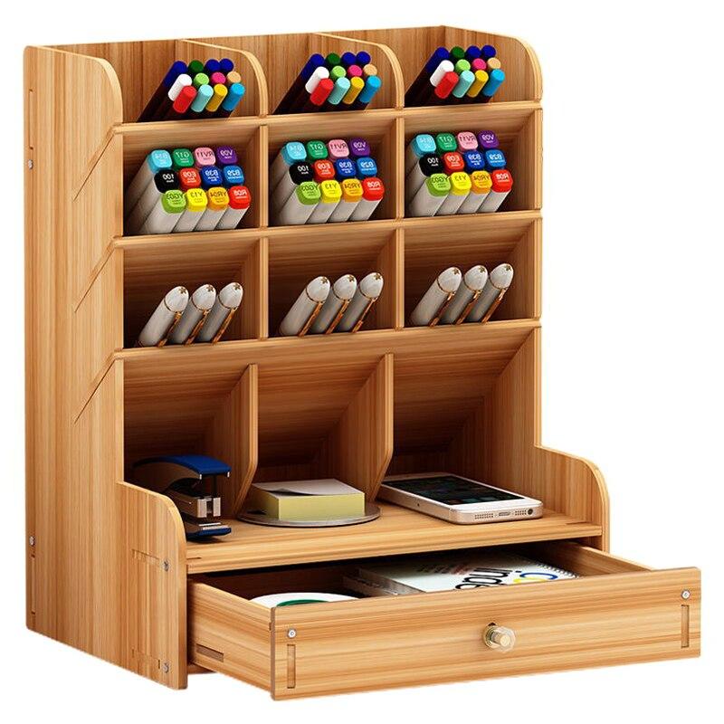 Деревянный многофункциональный настольный держатель ручки 5-слойная настольная коробка для хранения портативная с ящиком офисная школьная коробка для хранения канцтоваров Sto