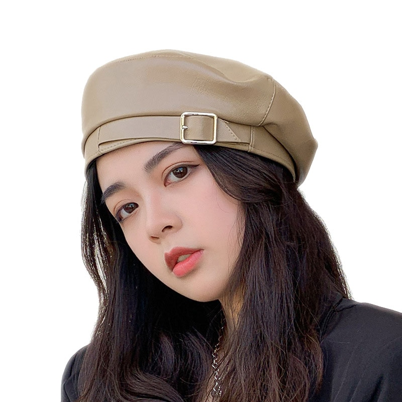 Women Fashion Beret Hat Autumn Winter 2020 New PU Leather Hat With Buckle