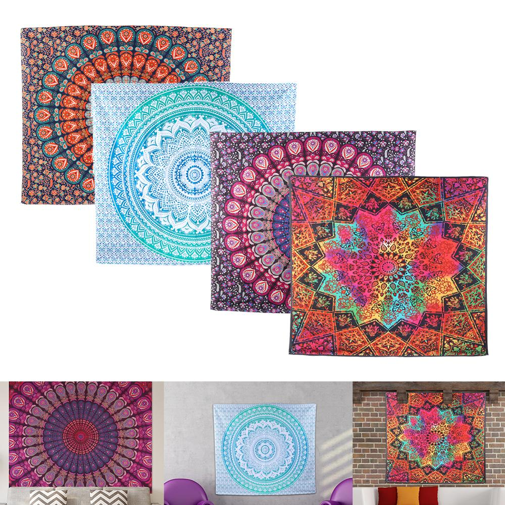 Tapisserie murale de grande taille   Tapisserie indienne de Mandala, serviette de plage bohème, couverture fine en Polyester, tapis de châle de Yoga