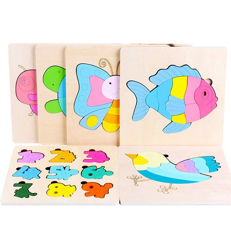Новинка, лидер продаж, детская деревянная 3D-головоломка, деревянная головоломка, обучающая настольная игра для малышей по методу Монтессор...