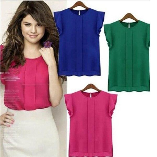 Womens Shirt Top Summer Casual Loose Short Sleeve Chiffon Solid Color Elegant OL Blouse