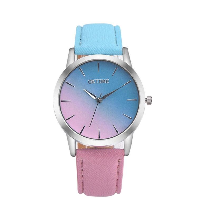 Women watch Gradient color Colorful Retro Rainbow Design Leather Band Analog Alloy Quartz Wrist Watch Bracelet Gift YE1