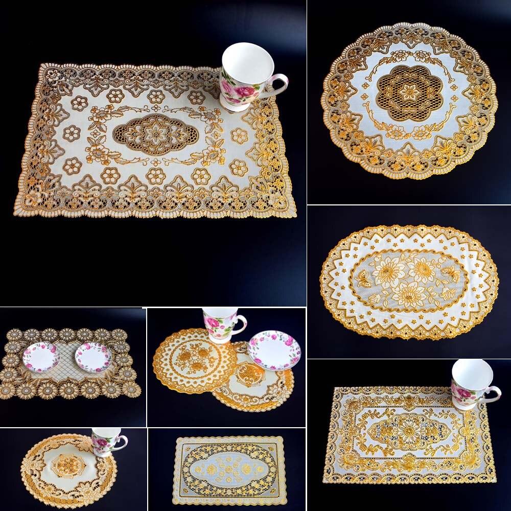 6 uds bronceado de encaje de pvc manteles individuales PARA CENA estera de tabla de oro Montaña Rusa aislante e impermeable de vajilla utensilios de restaurante