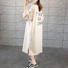 Cotton Polyester Fall Wear Long Sleeves Tshirt Korean Dress Casual Loose Letter Print Simple Clothes