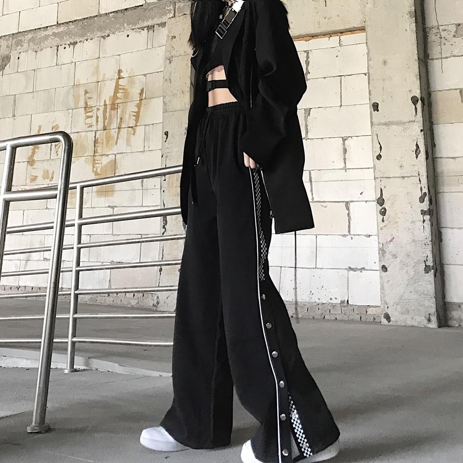 Design Women's Autumn Clothing New Korean Style Ins Retro Slit Wide Leg Pants High Waist Figure Flat