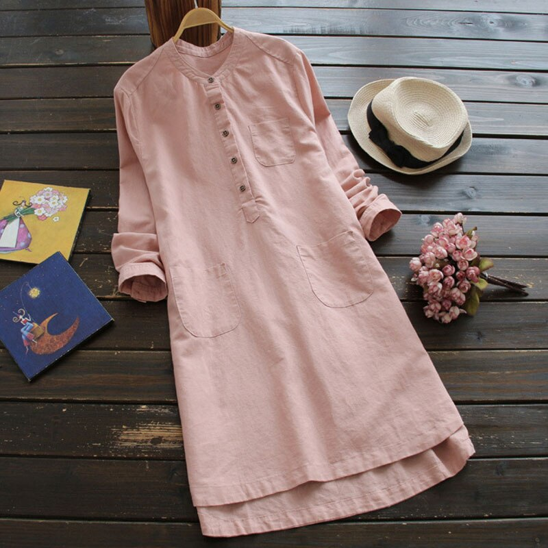 ZANZEA-elegante Vestido camisero de algodón, para mujer, de otoño, manga larga, largo hasta la rodilla, monocolor, 5XL talla grande, 2020