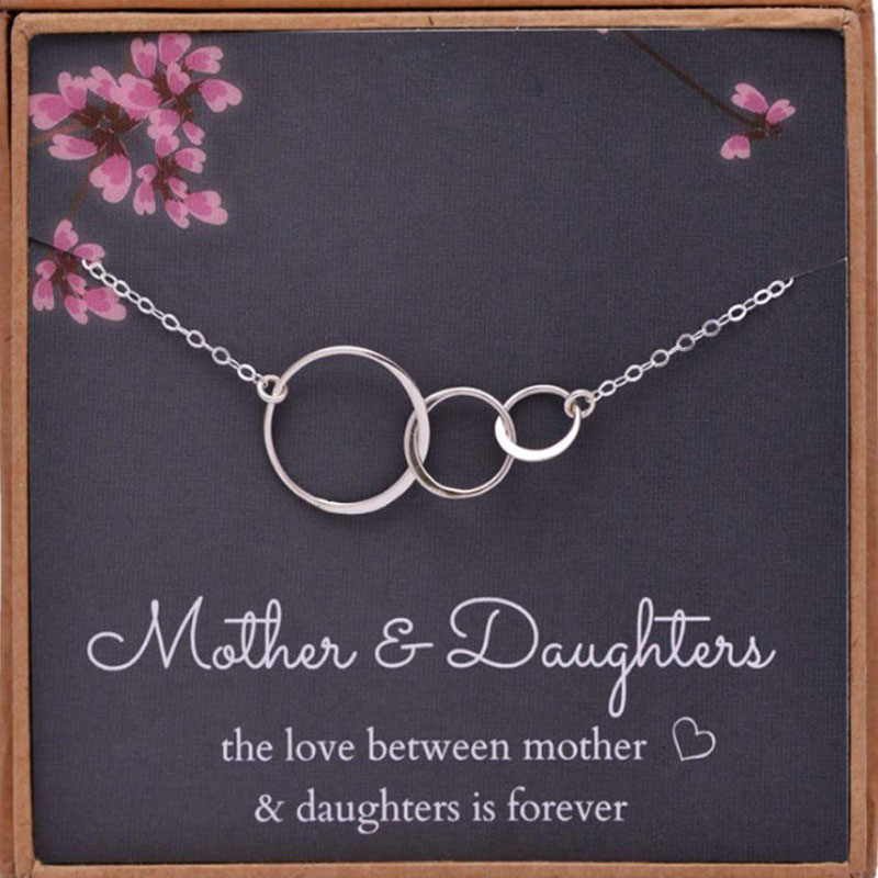 Collar de cadena de plata para mujer, collar para madre e hija con tres círculos triples entrelazados, regalo de joyería para el día de la madre