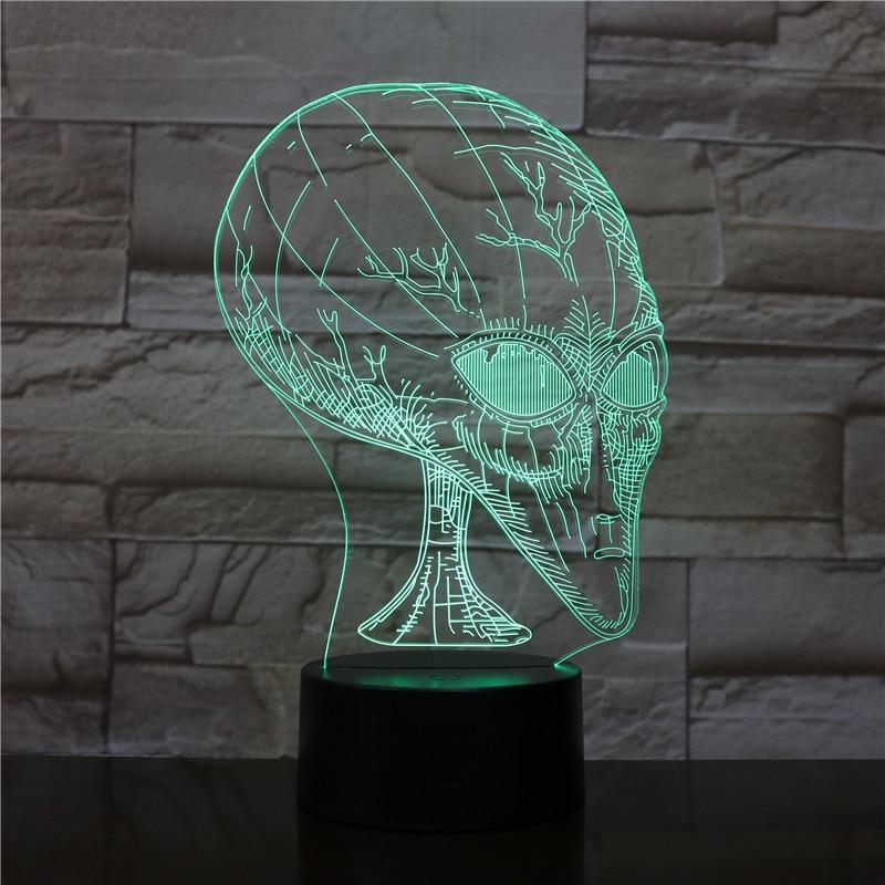 Alien cabeza 3D visión ilusión lámpara de noche de acrílico con el...